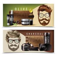 Banners de cosméticos de barba de peinado de hombres realistas vector