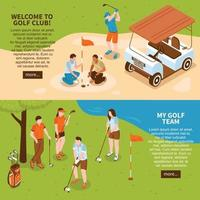 isometric golf banners vector