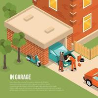 isometric garage outside illustration