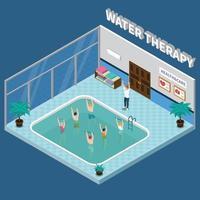 physiotherapy rehabilitation clinic isometric interior vector