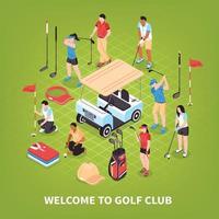 isometric golf illustration vector