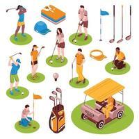isometric golf play set vector
