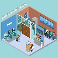 recruitment hiring HR management isometric people composition vector
