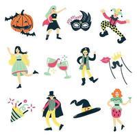 fiesta de disfraces, doodle vector