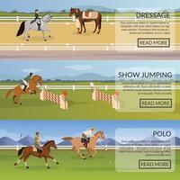 equestrian sports flat banners vector