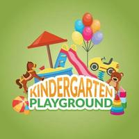 kindergarten babysitter flat composition vector