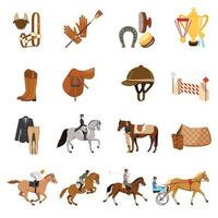 equestrian sports flat icons vector