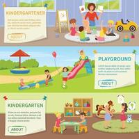 kindergarten babysitter flat banners vector
