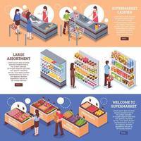 isometric supermarket horizontal banners vector