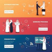 Banners de gente de negocios árabe vector