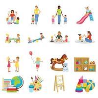 kindergarten babysitter flat set vector