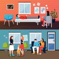 psychologist counseling people compositions vector