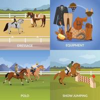 equestrian sports flat 2x2 vector