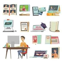 On-line education orthogonal icons vector
