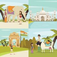 India 2x2 set vector