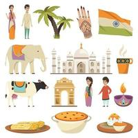 India orthogonal icons vector