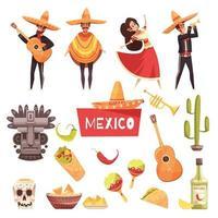 mexico cartoon set vector