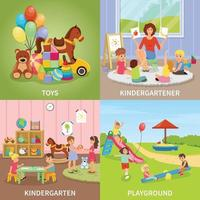 kindergarten babysitter flat 2x2 vector