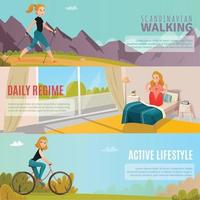 healthy lifestyle horizontal banners vector