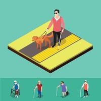 Isometric blind people background vector
