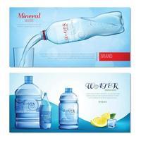 Banners horizontales de botellas de plástico. vector