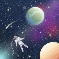 astronauta exploración espacial composición plana vector