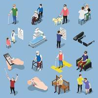 Isometric blind people icons vector