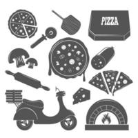 pizza vintage elements vector