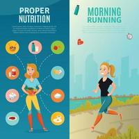healthy lifestyle vertical banners vector