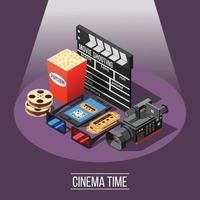 Isometric movie shooting composition vector