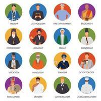 religión personas avatares planos vector