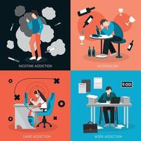 addictions people flat 2x2 vector