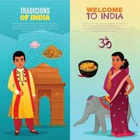 india travel vertical banners vector