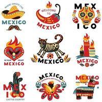 dead day mexico emblems logo set vector