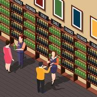 Isometric wine shop composition vector