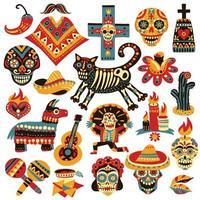 máscara de día muerto mexico set vector