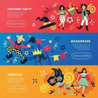 Banners de doodle de fiesta de disfraces vector