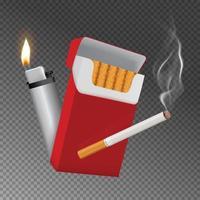 cigarrillo realista y encendedor vector