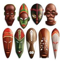 realistic african masks set