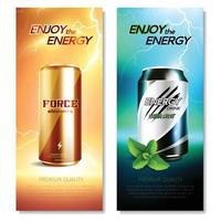 latas de aluminio bebidas pancartas verticales vector