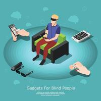 Isometric blind people composition vector