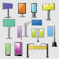 publicidad callejera elementos coloreados vector