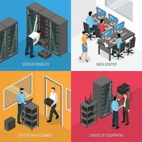 isometric cloud datacenter design concept vector