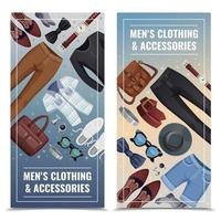 accesorios de hombre banners verticales vector