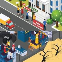 global warming climate change orthogonal flat banners vector