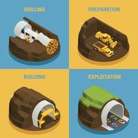tunnel construction boring isometric 2x2 vector