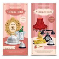 banners verticales de hotel vintage vector