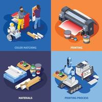 printing house polygraphy industry isometric 2x2 vector