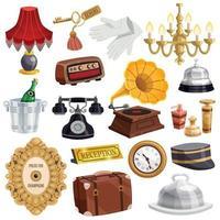 conjunto de personal de hotel vintage vector