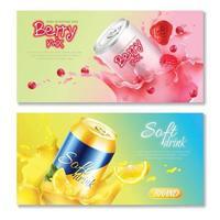 latas de aluminio bebidas banners horizontales vector